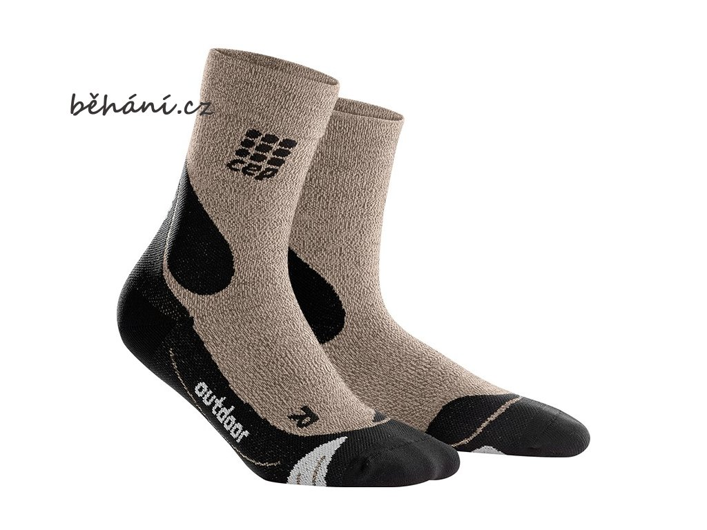 CEP Outdoor Merino Mid Cut Socks sand dune WP4CD4 w WP5CD4 m pair