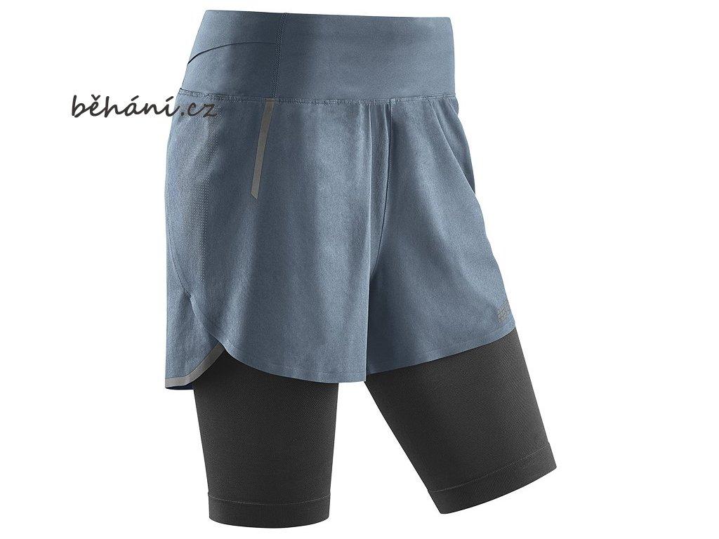 CEP dámské běžecké kompresní šortky 2v1 (3.0) - šedá / černá