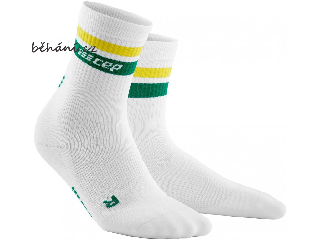 80s Compression Mid Cut Socks white green yellow WP4CTV WP5CTV front 2
