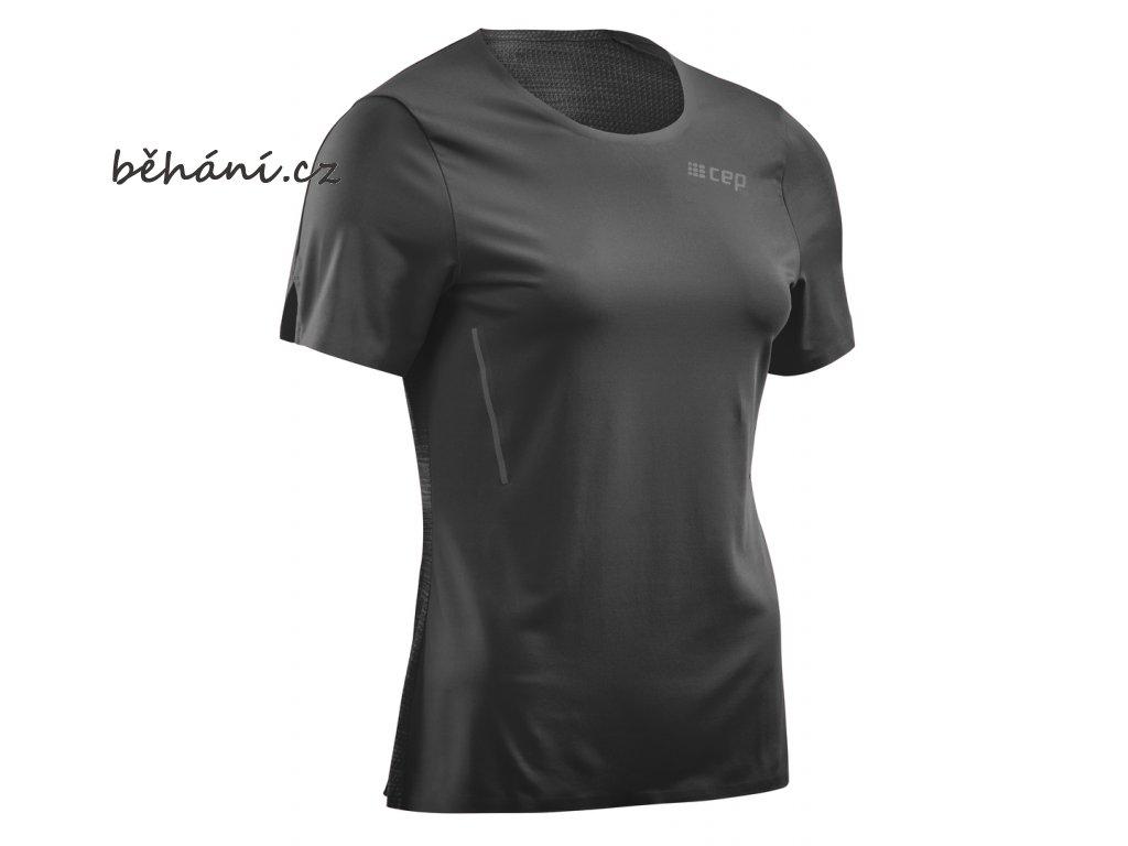 CEP dámské běžecké tričko s krátkým rukávem - černé