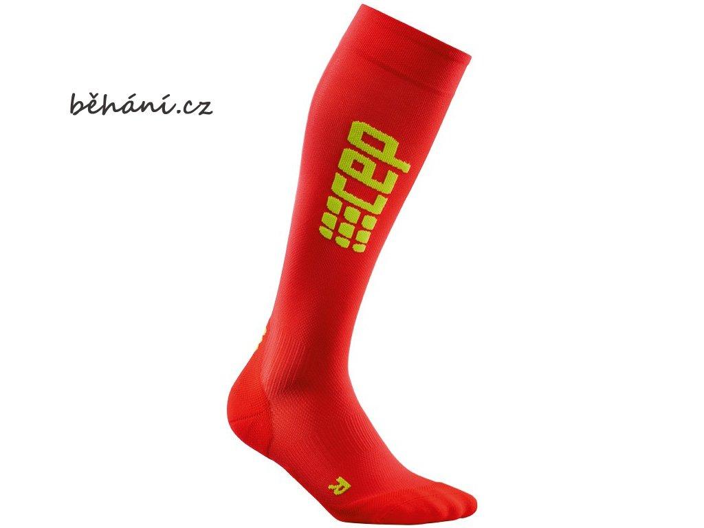 CEP pánské běžecké kompresní podkolenky ULTRALIGHT - červená / zelená (Velikost V (45-50 cm obvod lýtka))