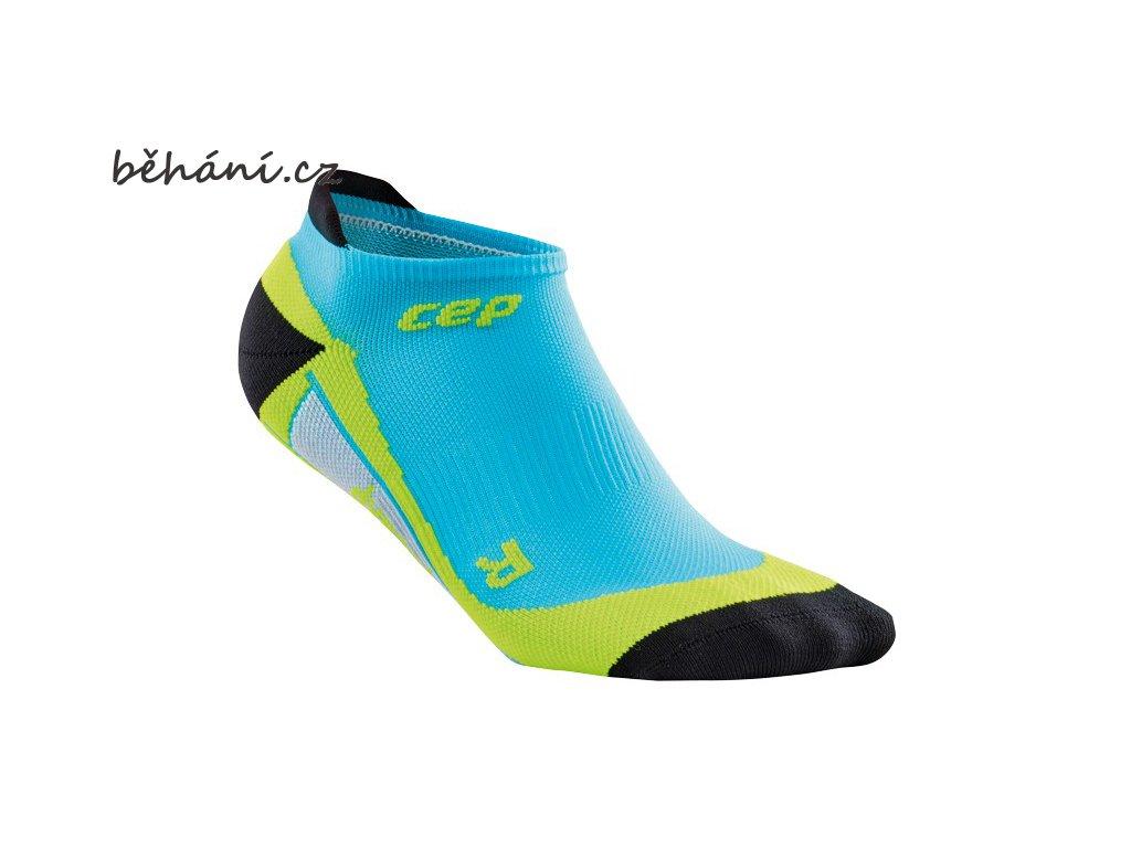 CEP pánské nízké běžecké kompresní ponožky - havajská modř / zelená (Velikost V (26,5-29 cm obvod kotníku))