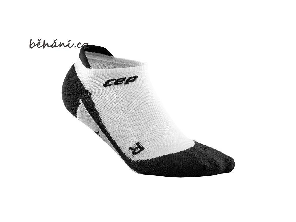CEP pánské nízké běžecké kompresní ponožky - bílá / černá (Velikost V (26,5-29 cm obvod kotníku))