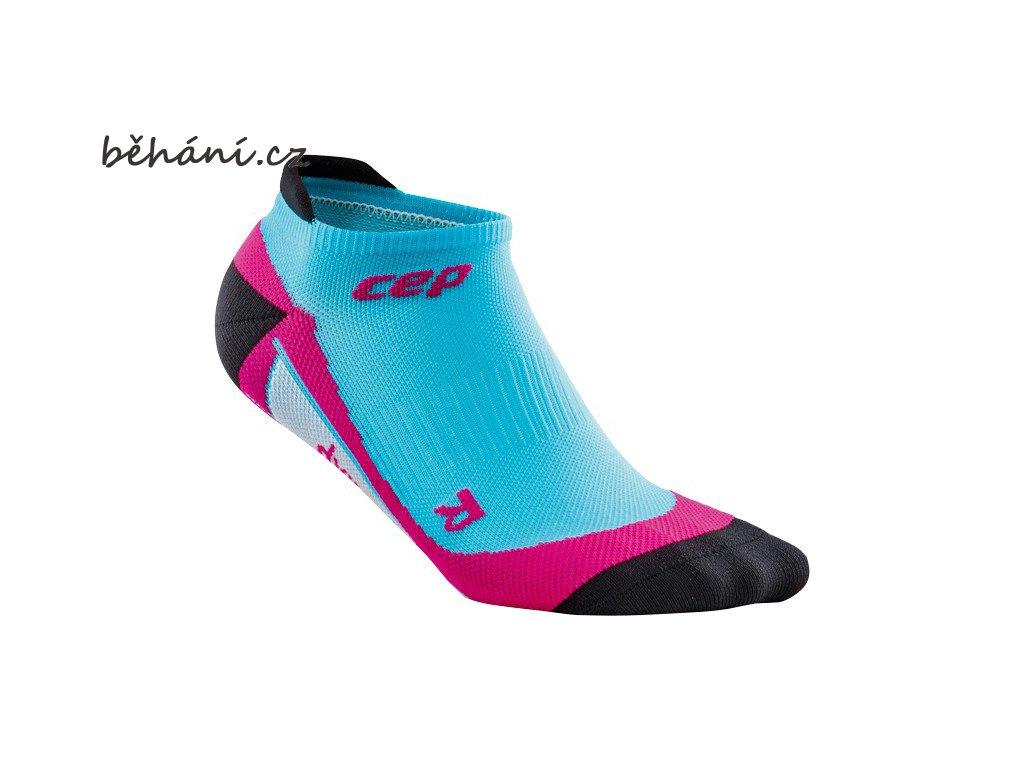 CEP dámské nízké běžecké kompresní ponožky - havajská modř / růžová (Velikost IV (23,5-26 cm obvod kotníku))