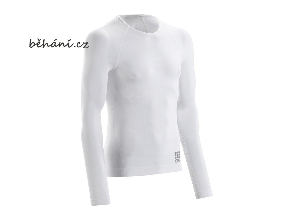 CEP pánské běžecké tričko ULTRALIGHT s dlouhým rukávem - bílé (Velikost textilu XXL)