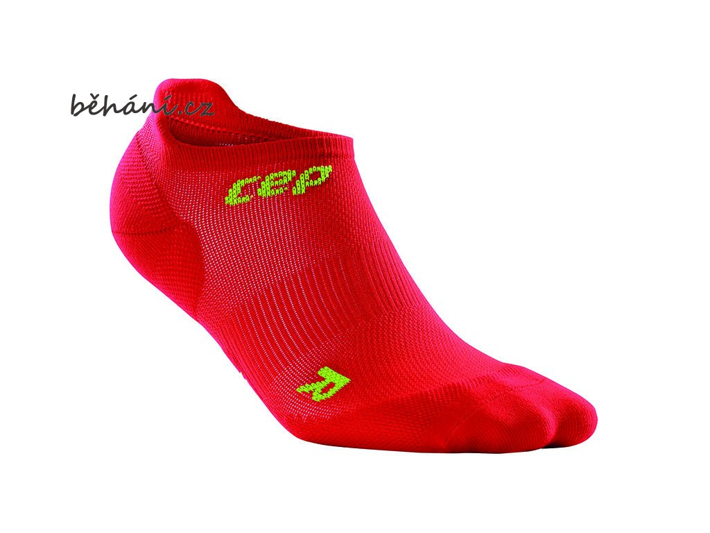 CEP pánské nízké běžecké kompresní ponožky ULTRALIGHT - červená / zelená (Velikost V (26,5-29 cm obvod kotníku))
