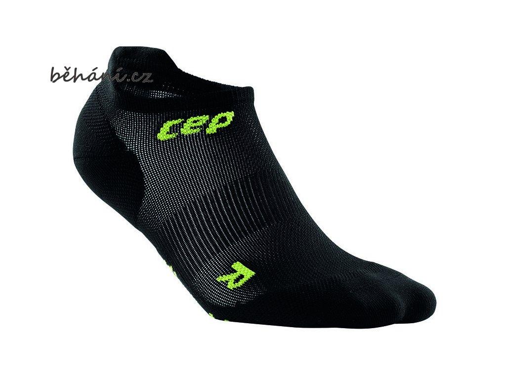 CEP dámské nízké běžecké kompresní ponožky ULTRALIGHT - černá / zelená (Velikost IV (23,5-26 cm obvod kotníku))