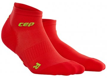 CEP dámské kotníkové běžecké kompresní ponožky ULTRALIGHT - červená / zelená (Velikost IV (23,5 - 26 cm obvod kotníku))
