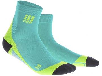 CEP pánské krátké běžecké kompresní ponožky - modrá lagoon / limetková