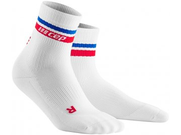 80 s Compression Short Socks white blue red pair