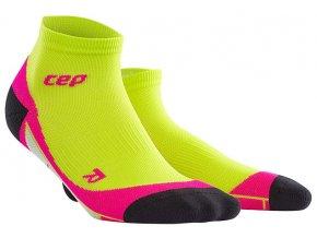 CEP dámské kotníkové běžecké kompresní ponožky - limetková / růžová
