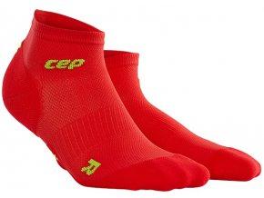 CEP pánské kotníkové běžecké kompresní ponožky ULTRALIGHT - červená / zelená