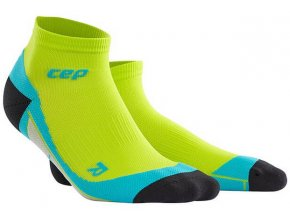 CEP pánské kotníkové běžecké kompresní ponožky - limetková / havajská modř