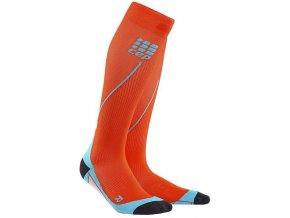 CEP pánské běžecké kompresní podkolenky - tmavě oranžová / havajská modř