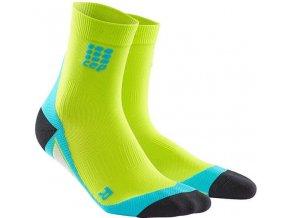 CEP pánské krátké běžecké kompresní ponožky - limetková / havajská modř