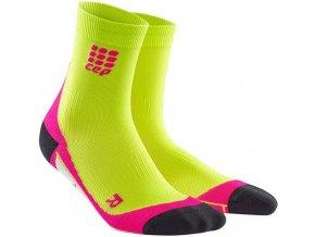 CEP dámské krátké běžecké kompresní ponožky - limetková / růžová