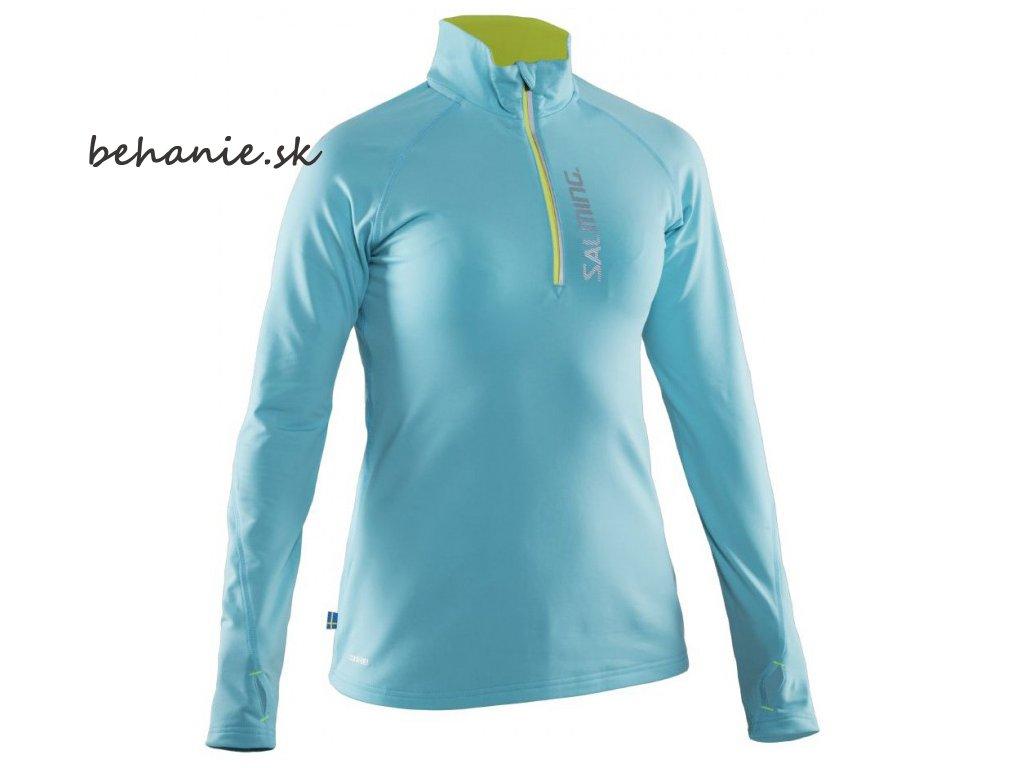 Bežecké tričko SALMING Run Halfzip LS Women Turquoise