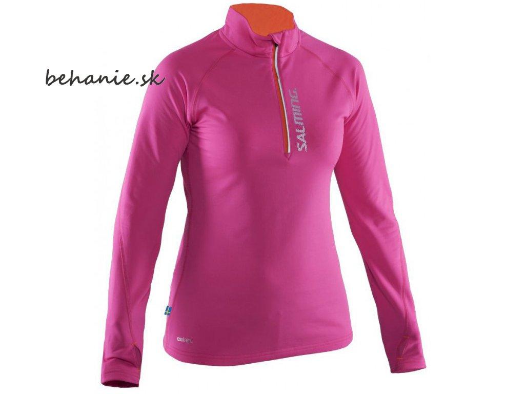Bežecké tričko SALMING Run Halfzip LS Women Pink