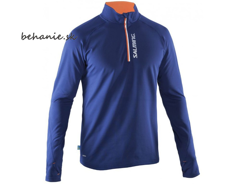 Bežecké tričko SALMING Run Halfzip LS Tee Men Navy