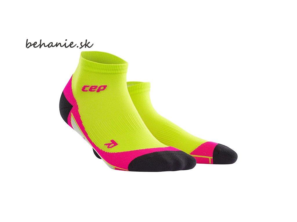 CEP dámské kotníkové běžecké kompresní ponožky - limetková / růžová (Velikost IV (23,5-26 cm obvod kotníku))
