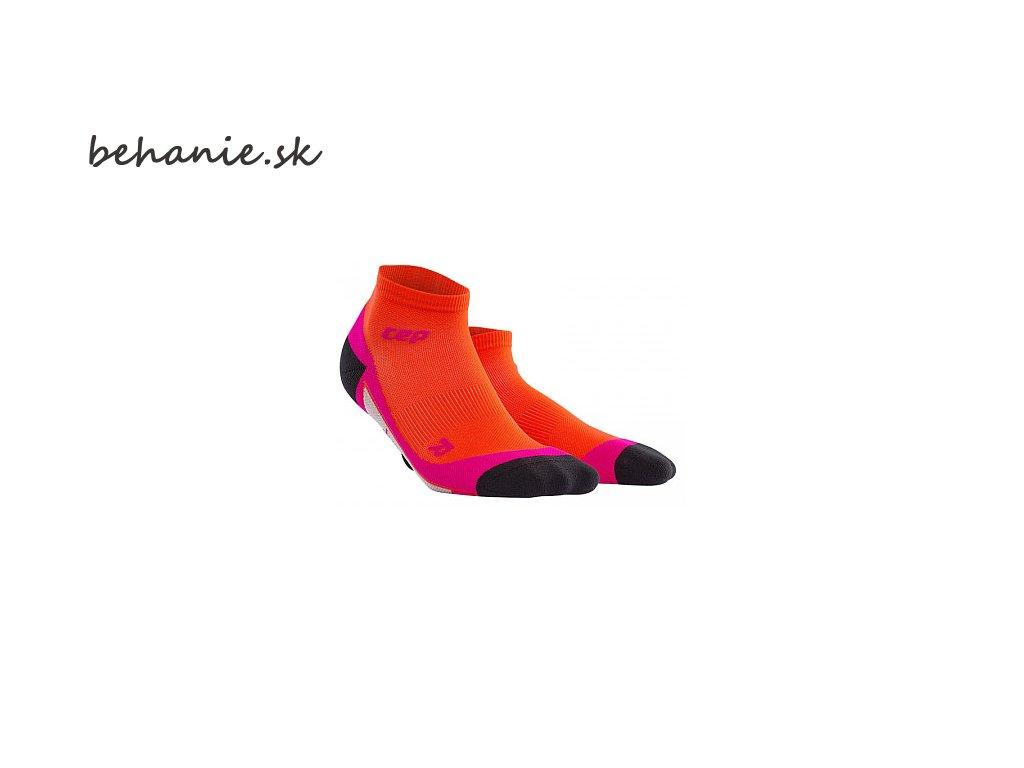 CEP dámské kotníkové běžecké kompresní ponožky - tmavě oranžová / růžová (Velikost IV (23,5-26 cm obvod kotníku))