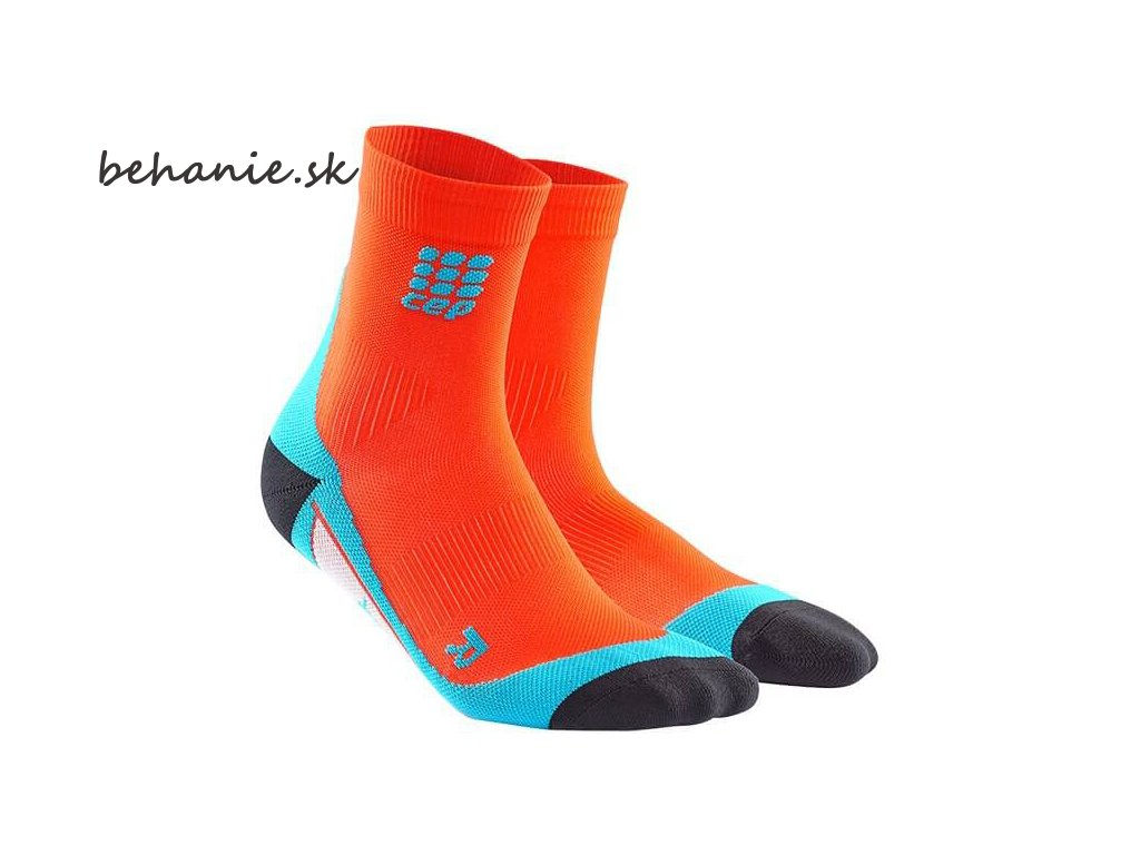 CEP pánske krátké bežecké kompresné ponožky - tmavě oranžová / havajská modř (Veľkosť V (45-50 cm obvod lýtka))