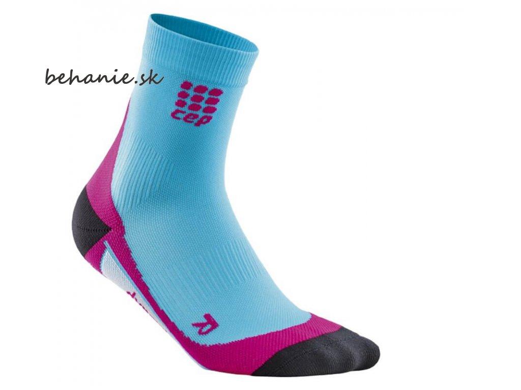 CEP dámské krátké běžecké kompresní ponožky - havajská modř / růžová (Velikost IV (39-44 cm obvod lýtka))