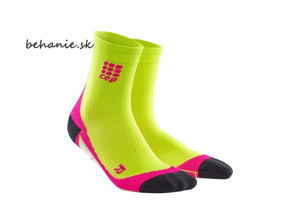 CEP dámske krátké bežecké kompresné ponožky - limetková / růžová (Veľkosť IV (39-44 cm obvod lýtka))