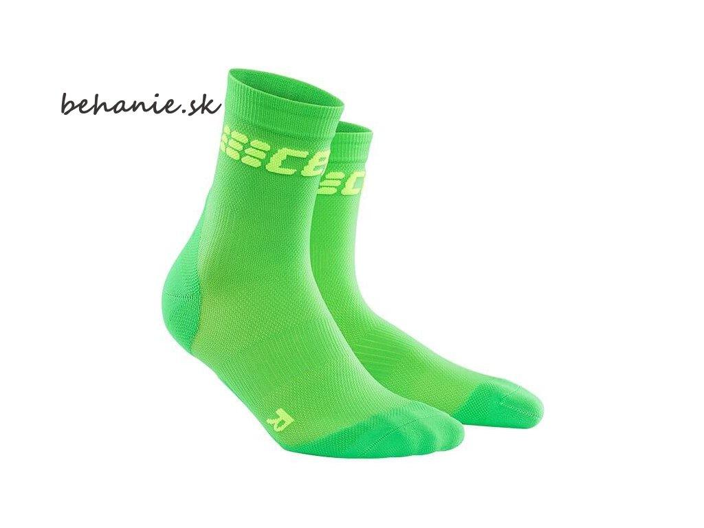 CEP dámske krátké bežecké kompresné ponožky ULTRALIGHT - viper / zelená (Veľkosť IV (39-44 cm obvod lýtka))