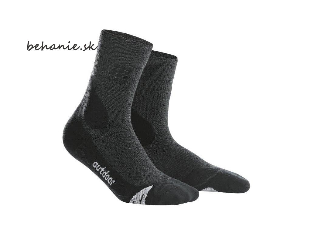CEP pánské outdoorové ponožky MERINO - šedá / černá (Velikost V (45-50 cm obvod lýtka))