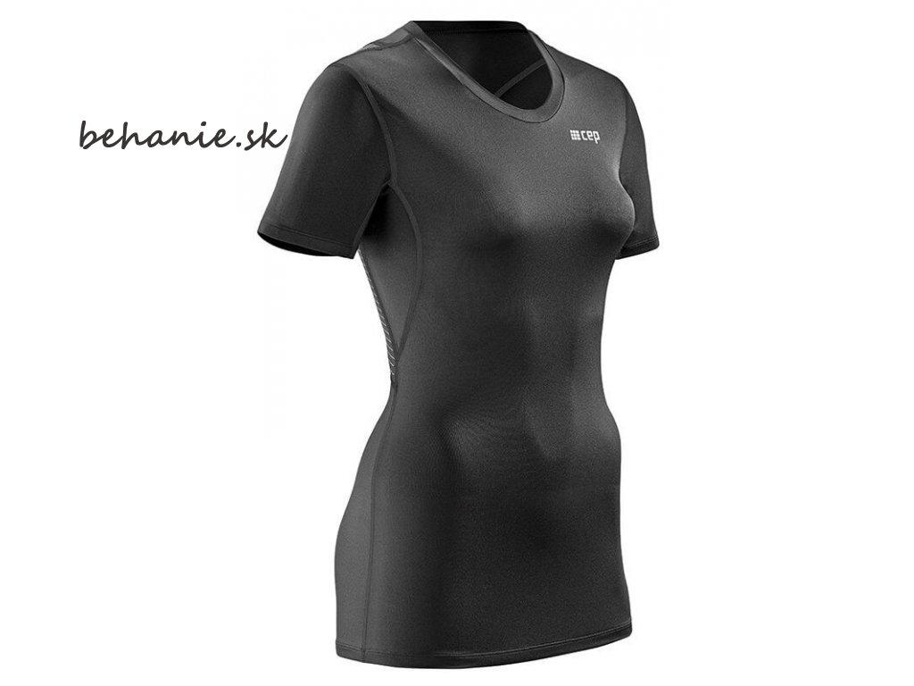 CEP dámské tričko WINGTECH s krátkým rukávem - černé (Velikost textilu XL)