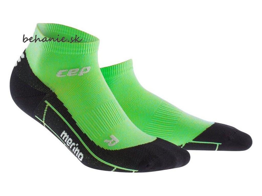 CEP pánské kotníkové běžecké kompresní ponožky MERINO - viper / černá (Velikost V (45-50 cm obvod lýtka))