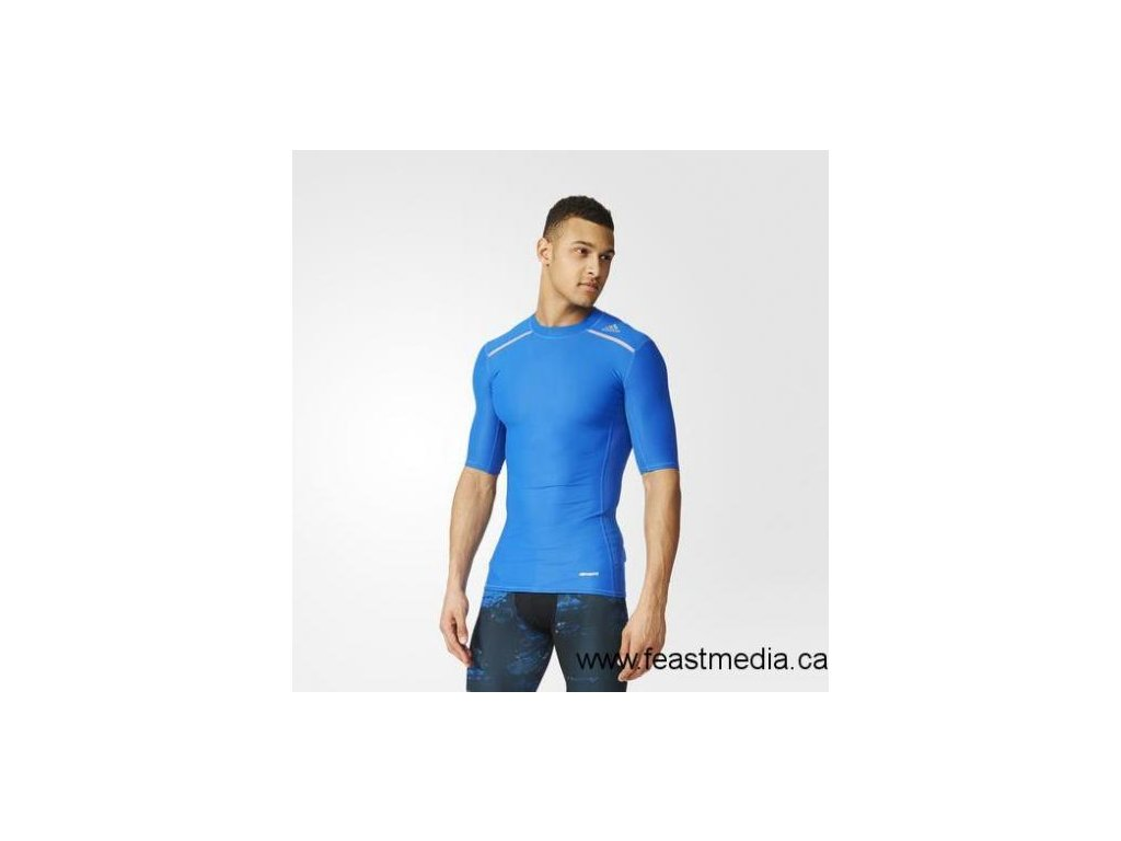 2017 Adidas Techfit Chill Short Sleeve Tee Blue Adidas Canada Clothing Blue Ay3671[1]