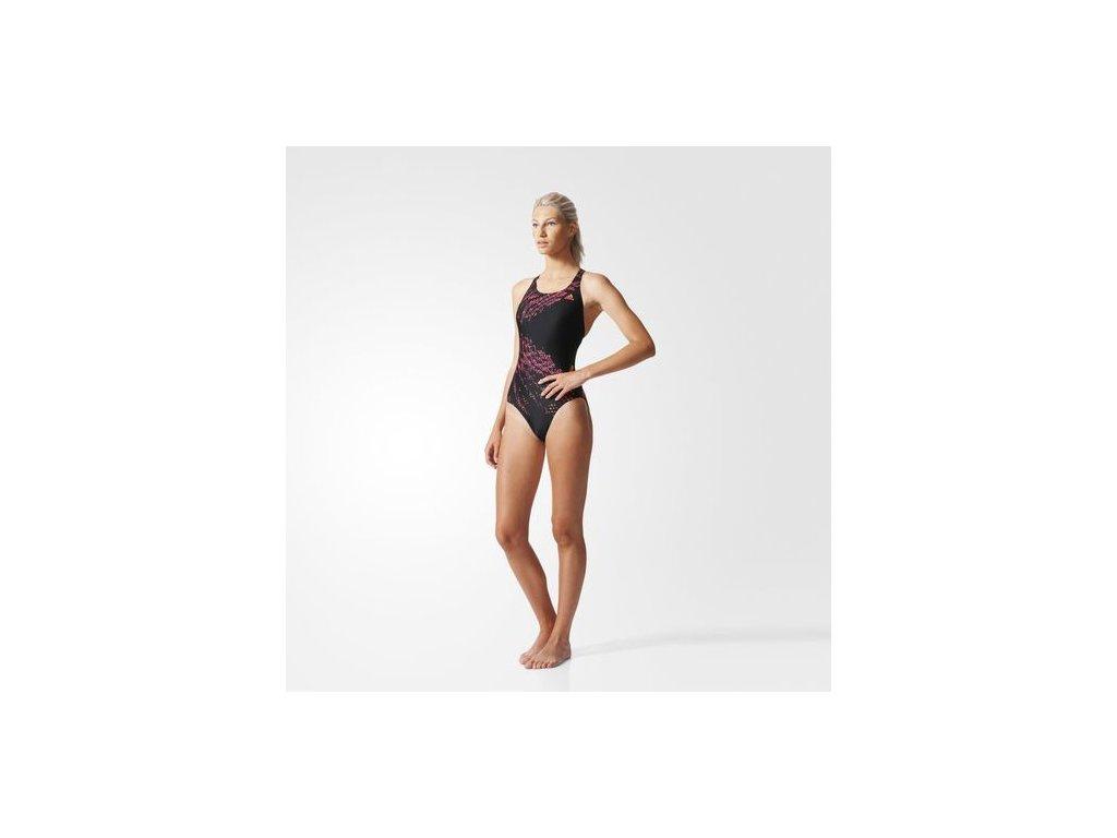 Adidas  plavky  TECH NEW 1PC        black/flash red