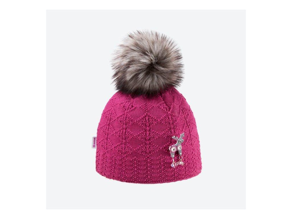117311494 KAMA - pletená čapica DEERS ASPEN pink - Belda.sk