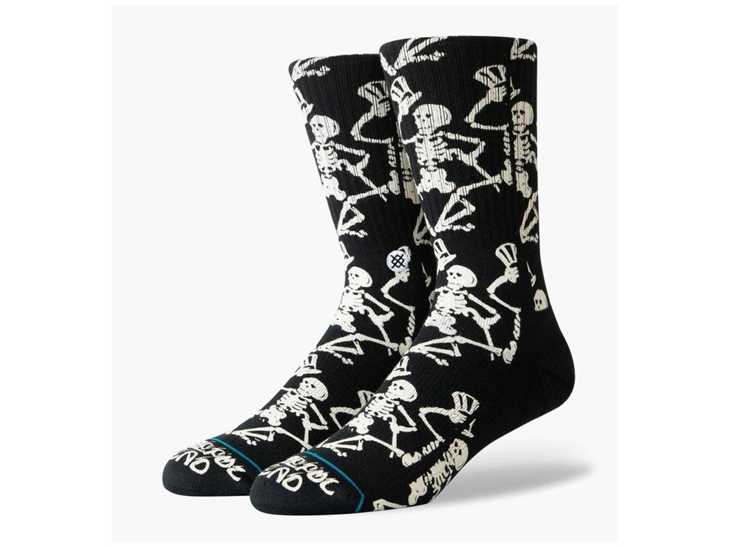 stance grateful skulls socks m556a19grs blk black