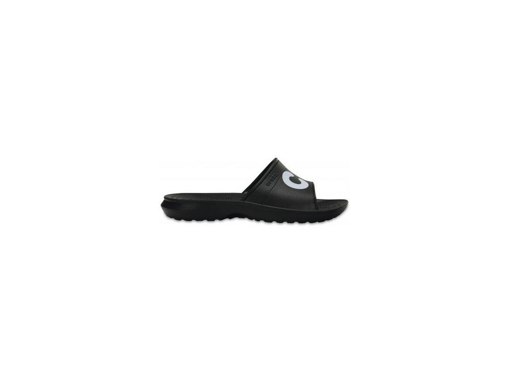 CROCS - šľapky CLASSIC GRAPHIC SLIDE Black/White