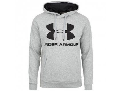 UNDER ARMOUR - mikina RIVAL FLEECE LOGO HOODIE gery heather