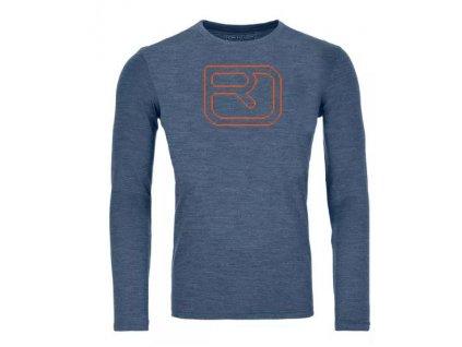 Ortovox tričko 185 Merino Pixel Logo LS M night blue blend