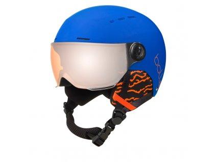 lyziarska prilba bolle quiz visor matte royal blue with orange gun visor cat 2[1]