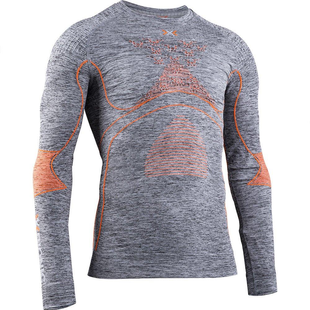 X-Bionic - tričko K ACCUMULATOR 4.0 MELANGE SHIRT ROUND NECK LG SL grey melange/orange Velikost: M