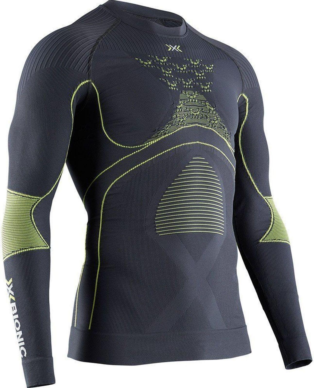 X-Bionic - tričko T Energy Accumulator 4.0 shirt round neck LG SL charcoal/yellow Velikost: XL