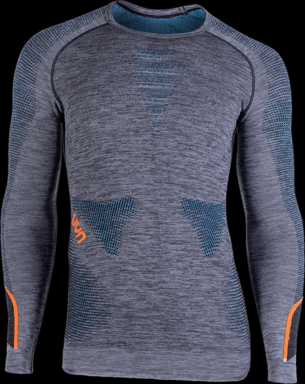 UYN - tričko T AMBITYON UW SHIRT LG_SL. MELANGE black/melange/atlantic/orange Velikost: S/M
