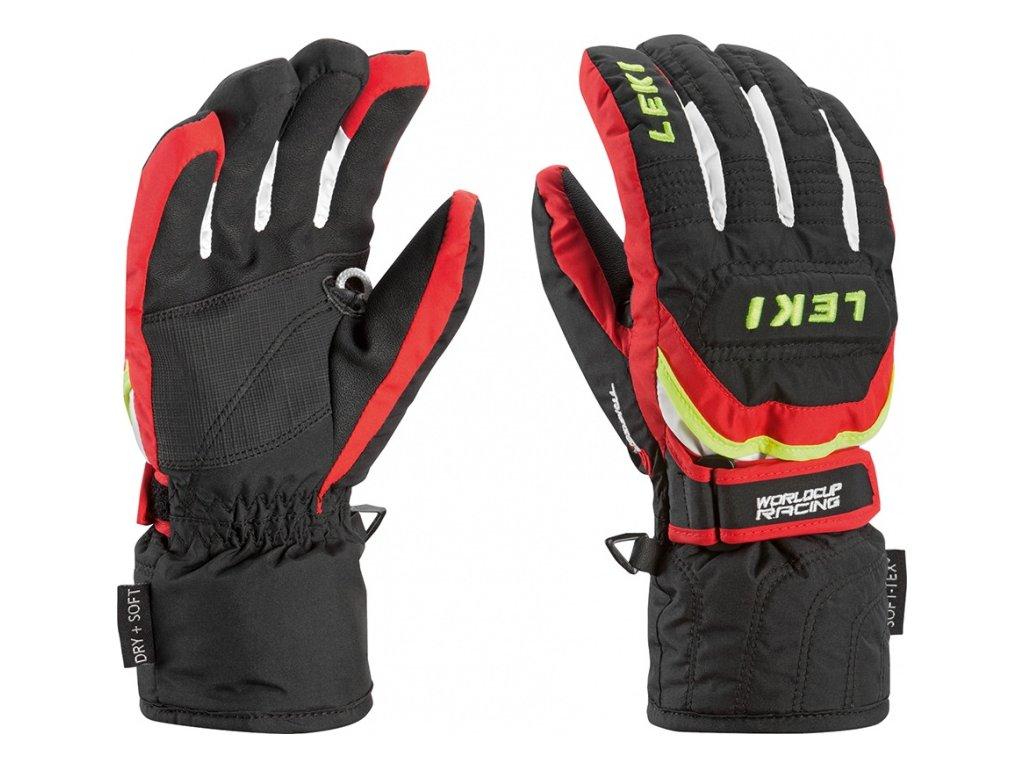 LEKI - rukavice Glove Worldcup S Junior  black/red/white/yellow (Velikost 5)