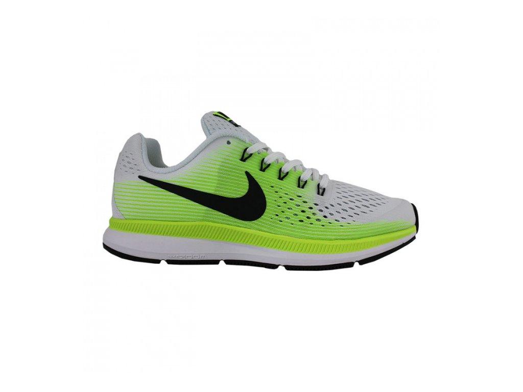 NIKE - obuv RUN ZOOM PEGASUS 34 (GS) RUNNIG SHOE white/green (Velikost 6.5Y)