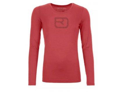 Ortovox tričko 185 Merino Pixel Logo LS W blush