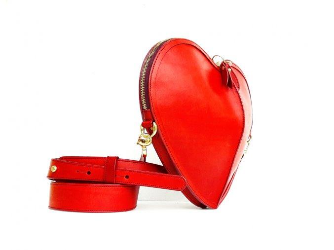 HEART bag (Barva kůže ferrari červená, Barva podšívky tmavě modrá, Kování/zip zlatá)