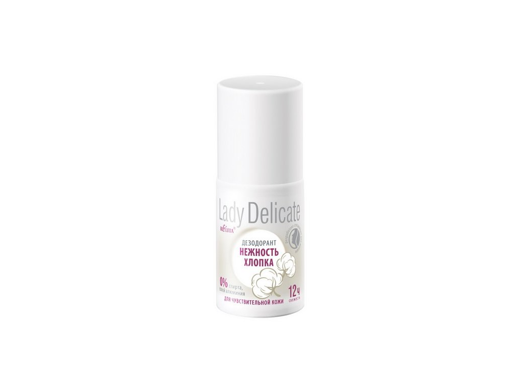 Lady Delicate Dezodorant Něžná bavlna pro citlivou pokožku 50 ml roll on