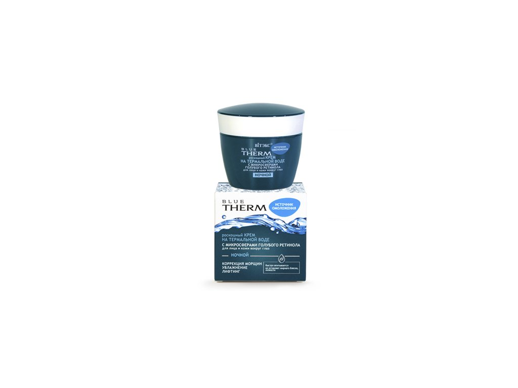 Blue Therm Luxuxsní krém z minerálních vod s mikrosférami modrého retinolu na obličej a pokožku kolem očí noční