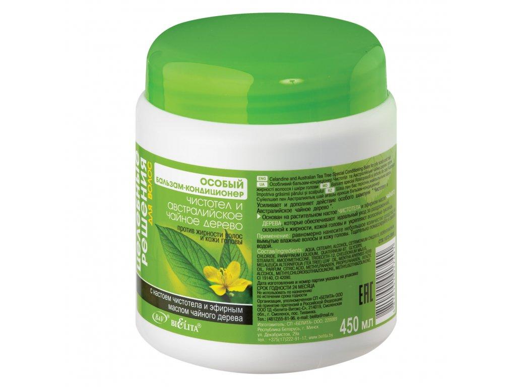 Zdravotní řešení – Speciální balzám – kondicionér na mastné vlasy a pokožku hlavy s vlaštovičníkem a Tea Tree olejem